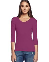 Michael Stars Shine Middle Sleeve V-Neck Tee - Lyst