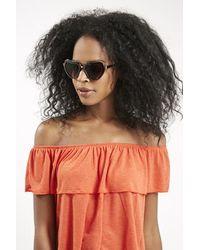 Topshop Heart Sunglasses brown - Lyst