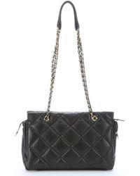Ferragamo Black Quilted Leather Medium 'Ginette' Chain Shoulder Bag - Lyst