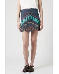Topshop Chevron Print A-Line Skirt - Lyst