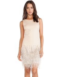 Haute Hippie Sleeveless Embellished Dress with Ostrich Feathers - Lyst