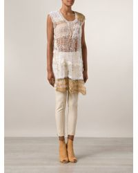 Rodarte Distressed Mohair-Wool Top - Natural