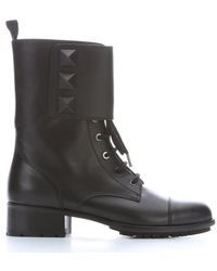 Valentino Black Leather Studded Combat Ankle Boots - Lyst