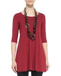 Eileen Fisher Half-Sleeve Silk Tunic - Lyst