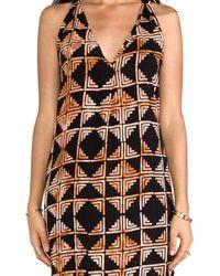 Indah Riva Deep V-Neck T-Back Sleeveless Mini Dress - Lyst