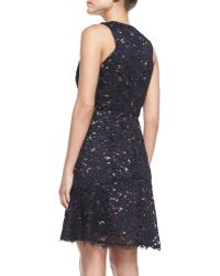 Shoshanna Sleeveless Confetti Lace Overlay Dress - Lyst