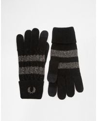 Fred Perry - Cable Tipped Touchscreen Gloves - Lyst
