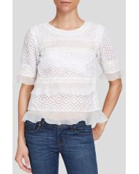 Rebecca Taylor Top - Short Sleeve Tile Lace Ruffle - Lyst