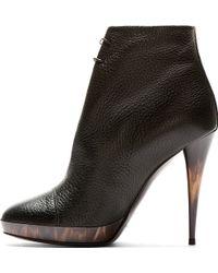 Burberry Prorsum | Black Leather Horn Heel Boots | Lyst