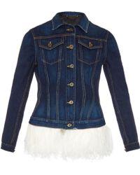 Burberry Prorsum Feather-Embellished Denim Jacket blue - Lyst