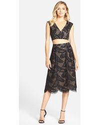 BCBGMAXAZRIA Short Sleeve Lace Crop Top & Skirt - Black