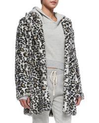 Pam & Gela - Faux-Fur Leopard-Print Coat - Lyst