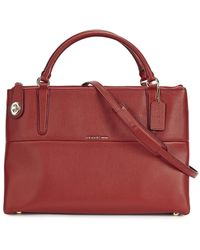 COACH - Borough Red Grained Leather Tote - Lyst