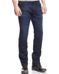 Guess Slim Straight Faux-Leather-Pocket Jeans - Lyst