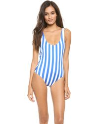 Solid & Striped Anne Marie One Piece Swimsuit Bright Blueoff White - Lyst