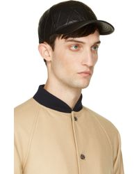 Neil Barrett Black Quilted Leather Cap - Lyst