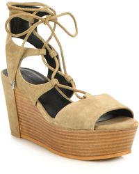 Rebecca Minkoff   Cady Suede Lace-up Platform Wedge Sandals   Lyst