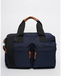 ASOS | Satchel In Blue Nylon With Front Pocket | Lyst