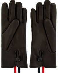 Thom Browne | Black Leather Gloves | Lyst
