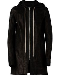 Rick Owens Black Hooded Coat - Lyst
