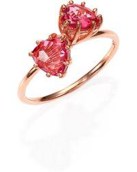 KALAN by Suzanne Kalan - Pink Topaz & 14k Rose Gold Double Trillion Ring - Lyst