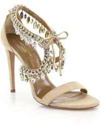 Aquazzura | Milla Crystal Fringe Suede Sandals | Lyst