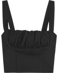 Title A - Cropped Ruched Stretch-cotton Bustier Top - Lyst