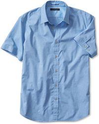 Banana Republic Slim-Fit Mini-Stripe Short-Sleeve Shirt blue - Lyst