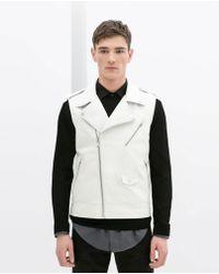 Zara Faux Leather Biker Waistcoat - Lyst