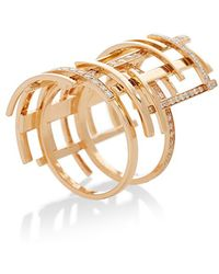 Maison Dauphin - Pink Gold And Diamond Structural Ring - Lyst