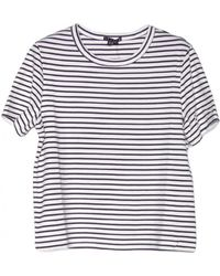Theory Cropped Crew Stripe Tee - Lyst