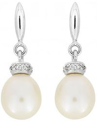 Azendi - Pearl Drops With Pavé Rings - Lyst
