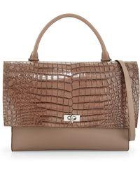 Givenchy Croc-Embossed Medium Shark-Lock Satchel Bag - Lyst