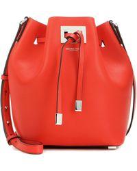 Michael Kors Miranda Leather Bucket Bag - Red