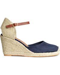 H&M Wedge Heel Espadrilles blue - Lyst