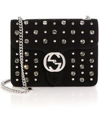 Gucci Interlocking Studded Suede Shoulder Bag - Lyst
