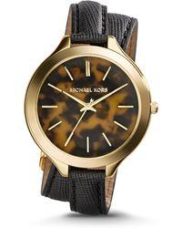 Michael Kors Slim Runway Tortoise Acetate Double-wrap Watch - Lyst