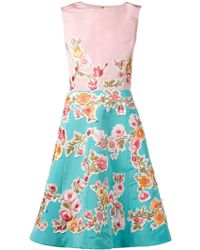 Oscar de la Renta Floral Embroidered Appliqué Dress - Lyst