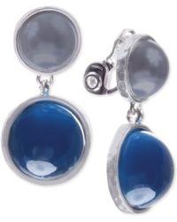 Jones New York - Silvertone Blue and Gray Double Drop Clipon Earrings - Lyst