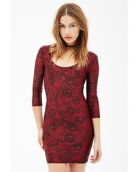 Forever 21 Lace Print Bodycon Dress - Lyst