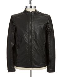 Calvin Klein Faux Leather Bomber Jacket - Lyst