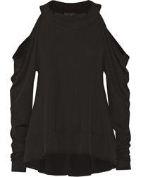 Donna Karan New York Cutout Stretch-Jersey Top - Lyst