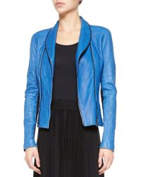 Elie Tahari Yasmine Washed Leather Jacket - Lyst