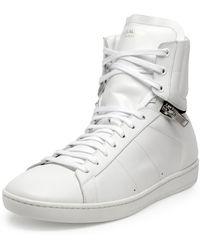 Saint Laurent Leather Zipper-Detail Sneaker - Lyst
