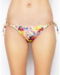 Asos Buttercup Floral Micro Brazilian Tie Side Bikini Pant - Lyst
