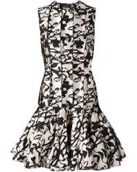 Lanvin Abstract Print Peplum Dress - Lyst