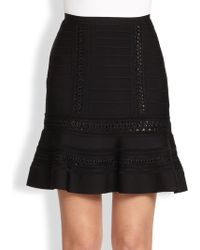 Hervé Léger A-Line Crochet Skirt - Lyst