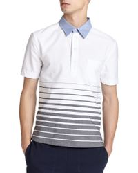 Band of Outsiders Engineered Stripe Cotton Polo white - Lyst