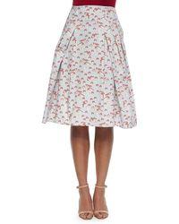 Carolina Herrera Mushroom-Print Inverted-Pleat A-Line Skirt - Lyst