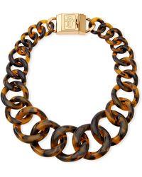 Tory Burch Monogram Tortoise Resin Chain Necklace - Lyst